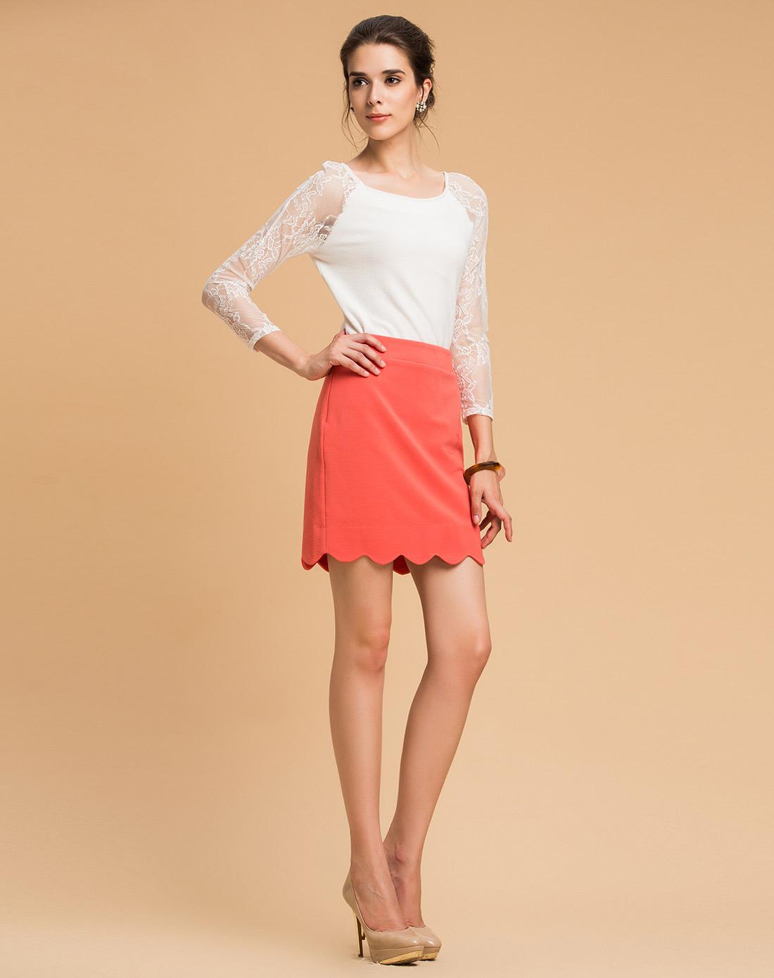 蓝色倾情lesies橘红色包臀修身半身裙ls612701148