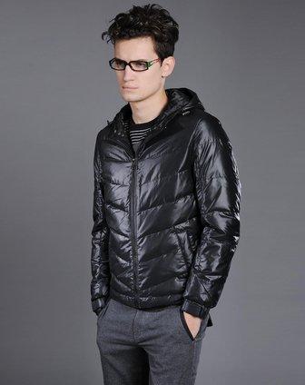 l2男装冬装专场利郎 酷感帅气黑色长袖羽绒服