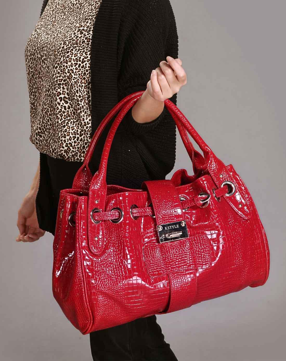 凯丝莱尔k style红色欧美亮皮鳄鱼纹手拎单肩女包