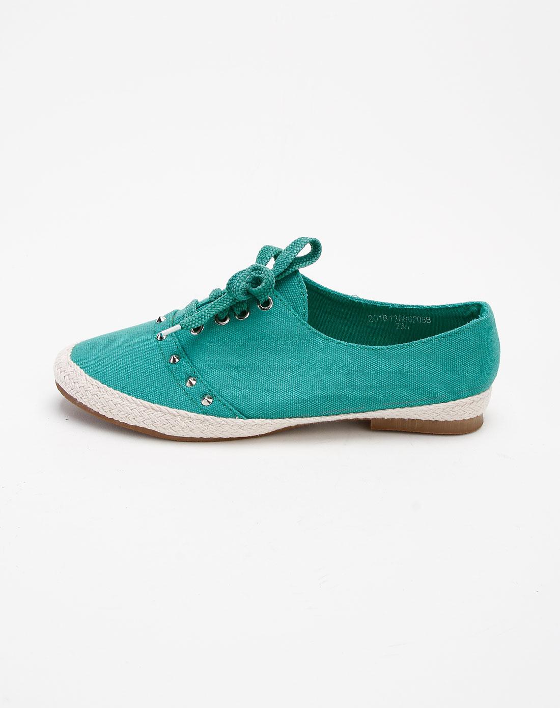 ggirl女款绿色铆钉绑带时尚帆布鞋201b13880206b