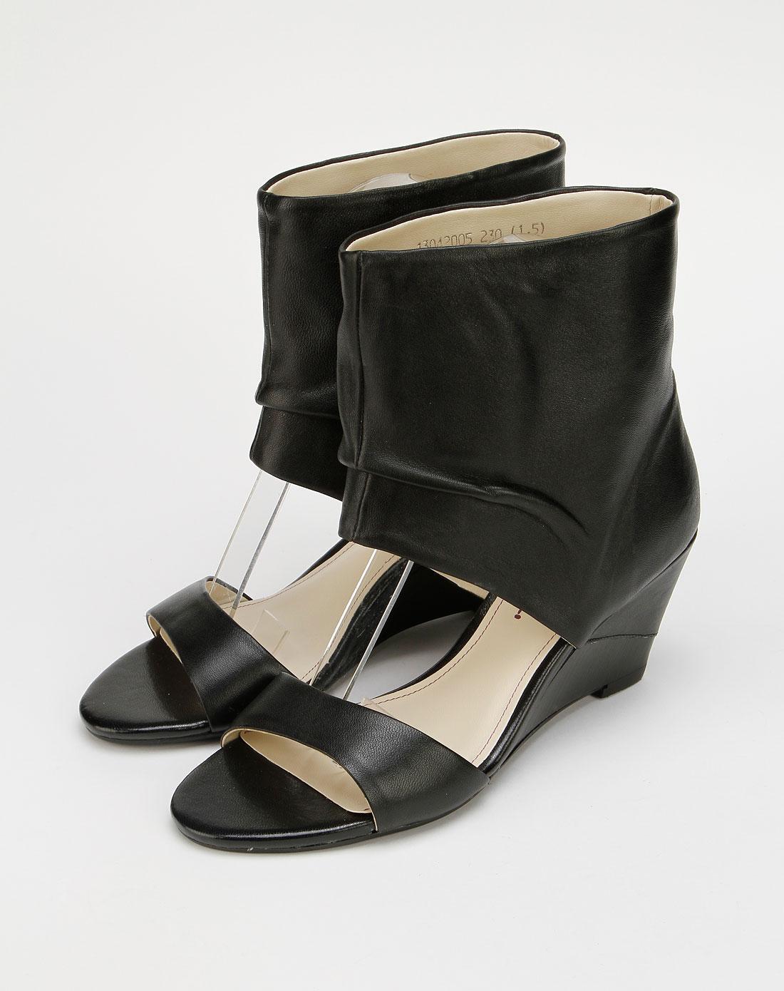 蜜丝罗妮marchiori高端黑色羊皮女凉鞋13042005-0001