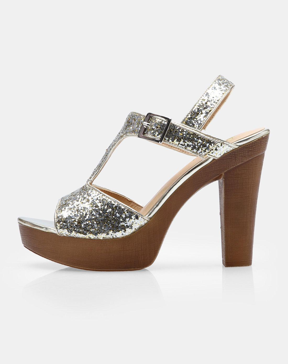 金属色粗跟凉鞋