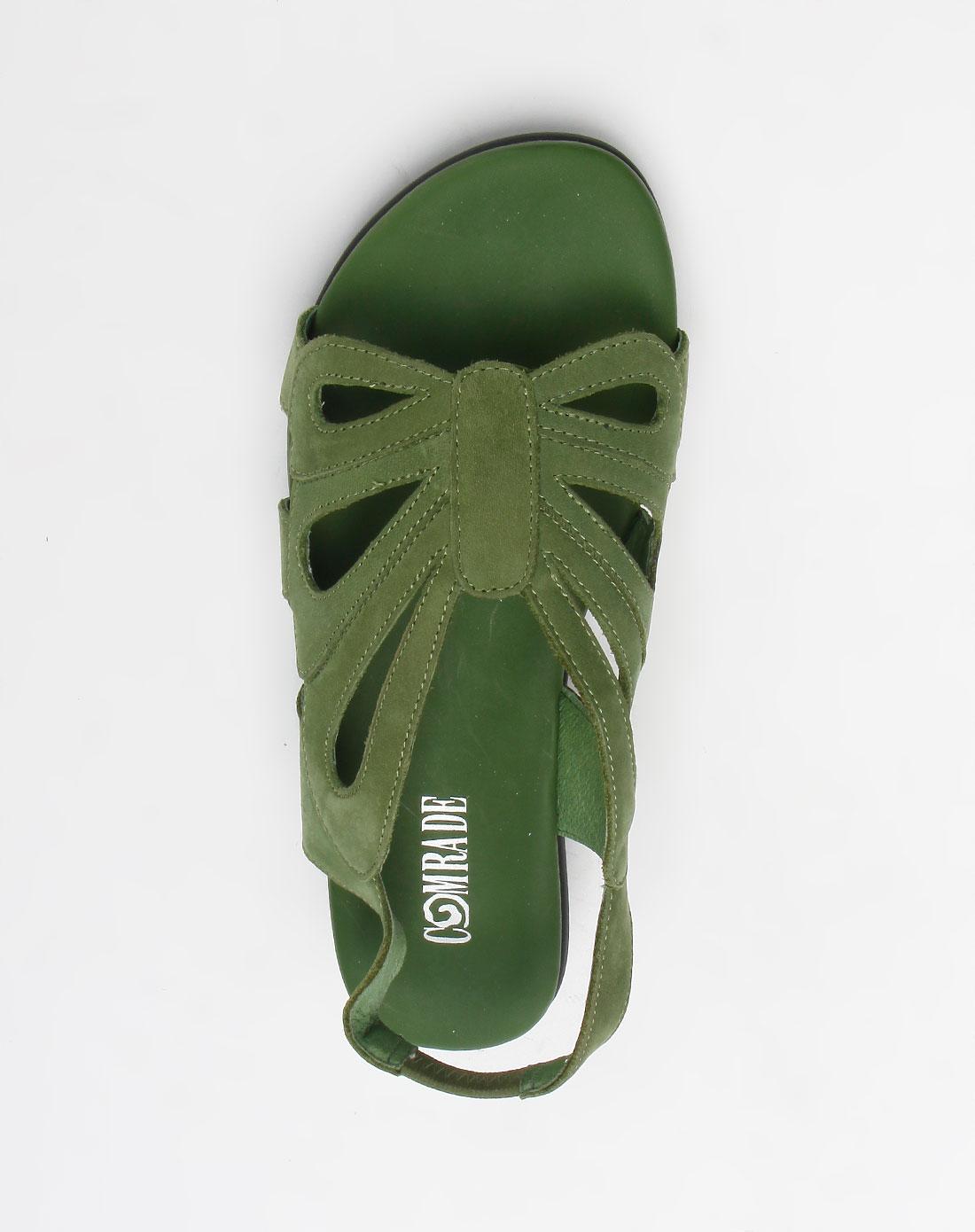 康莉comely头层青绿色磨砂牛皮圆头休闲凉鞋
