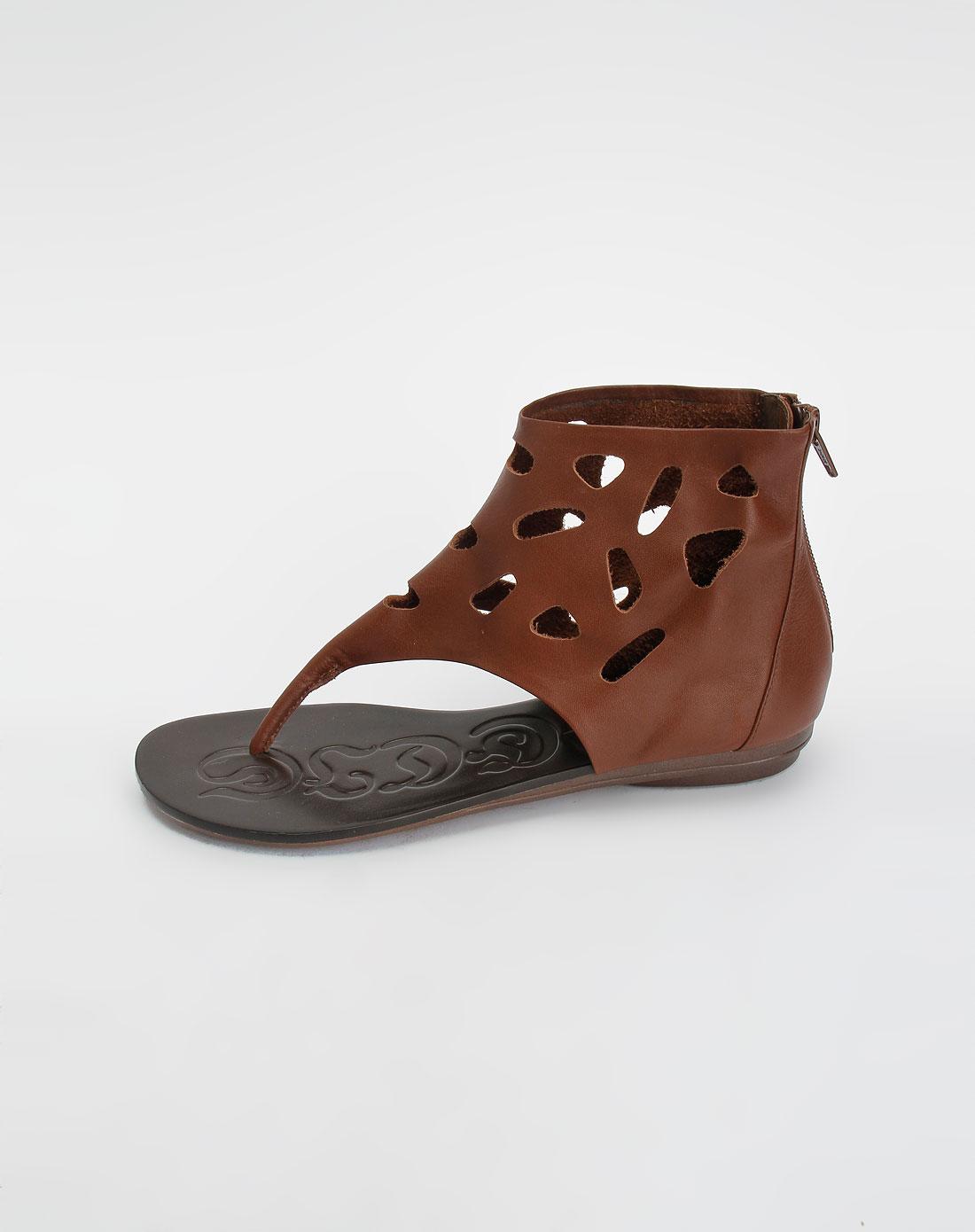 安玛莉precis头层棕色牛皮圆头休闲凉鞋210309037brl