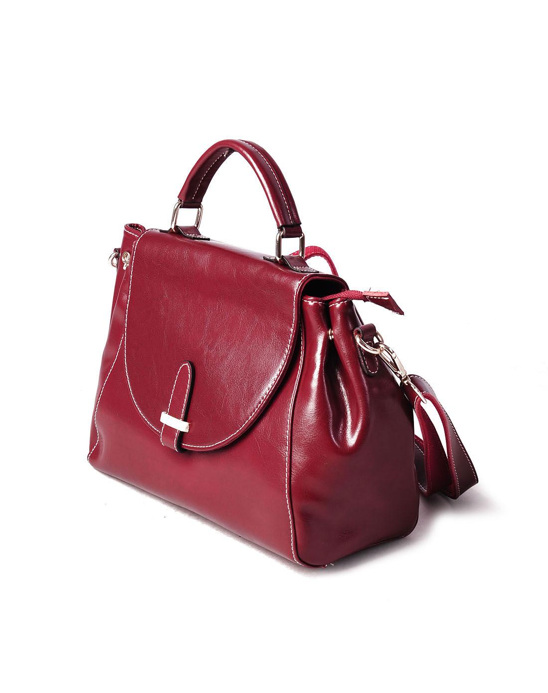 酒红色时尚复古潮流手提单肩斜挎包
