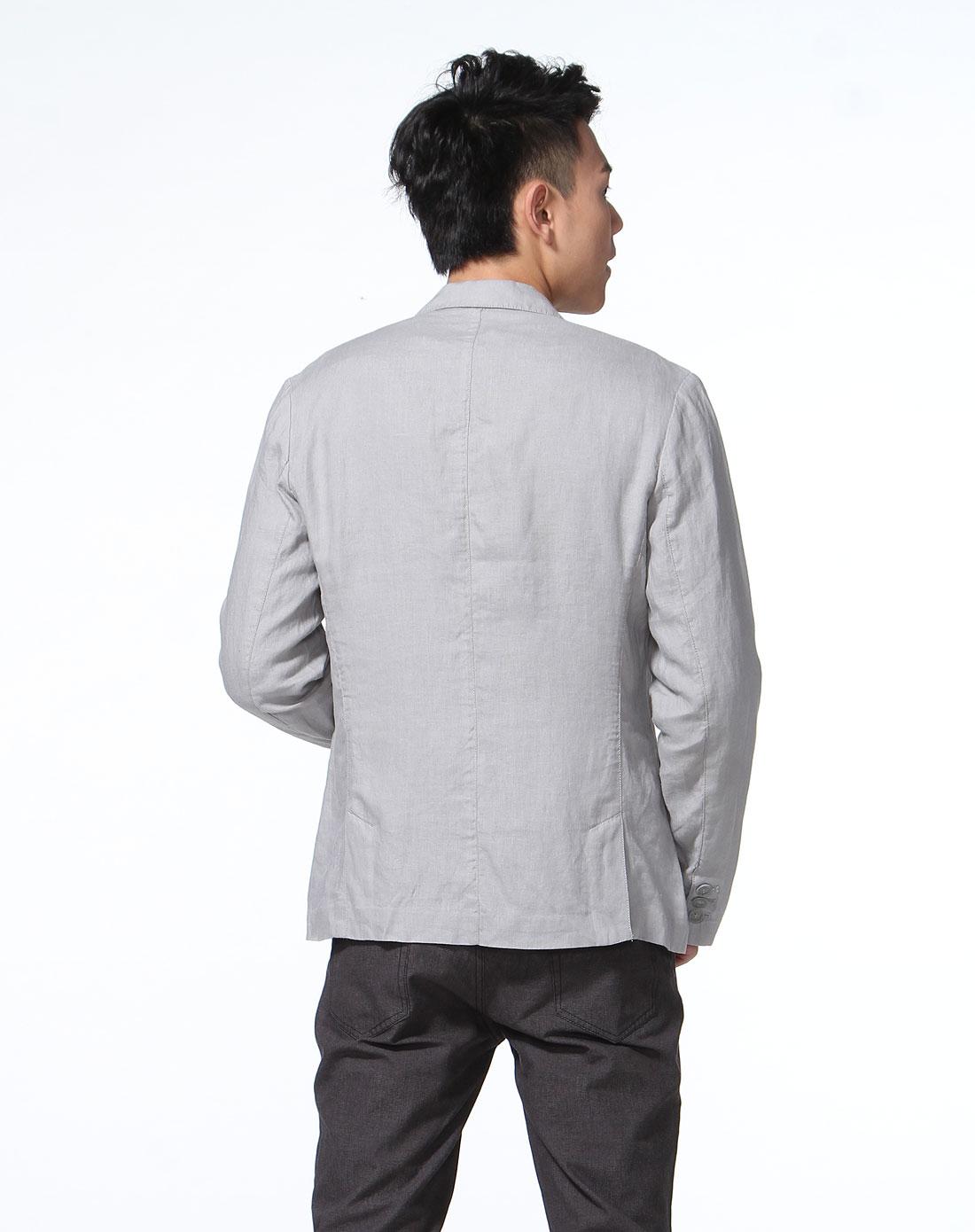 美特斯邦威 灰色简洁双扣长袖薄西装外套