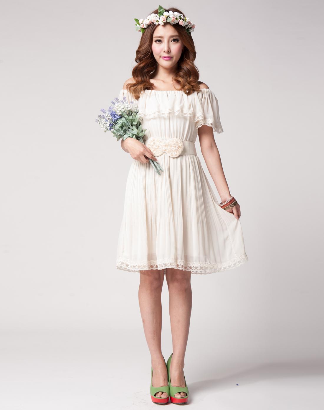 香影xiangying米色蕾丝花边压皱连衣裙q122302180