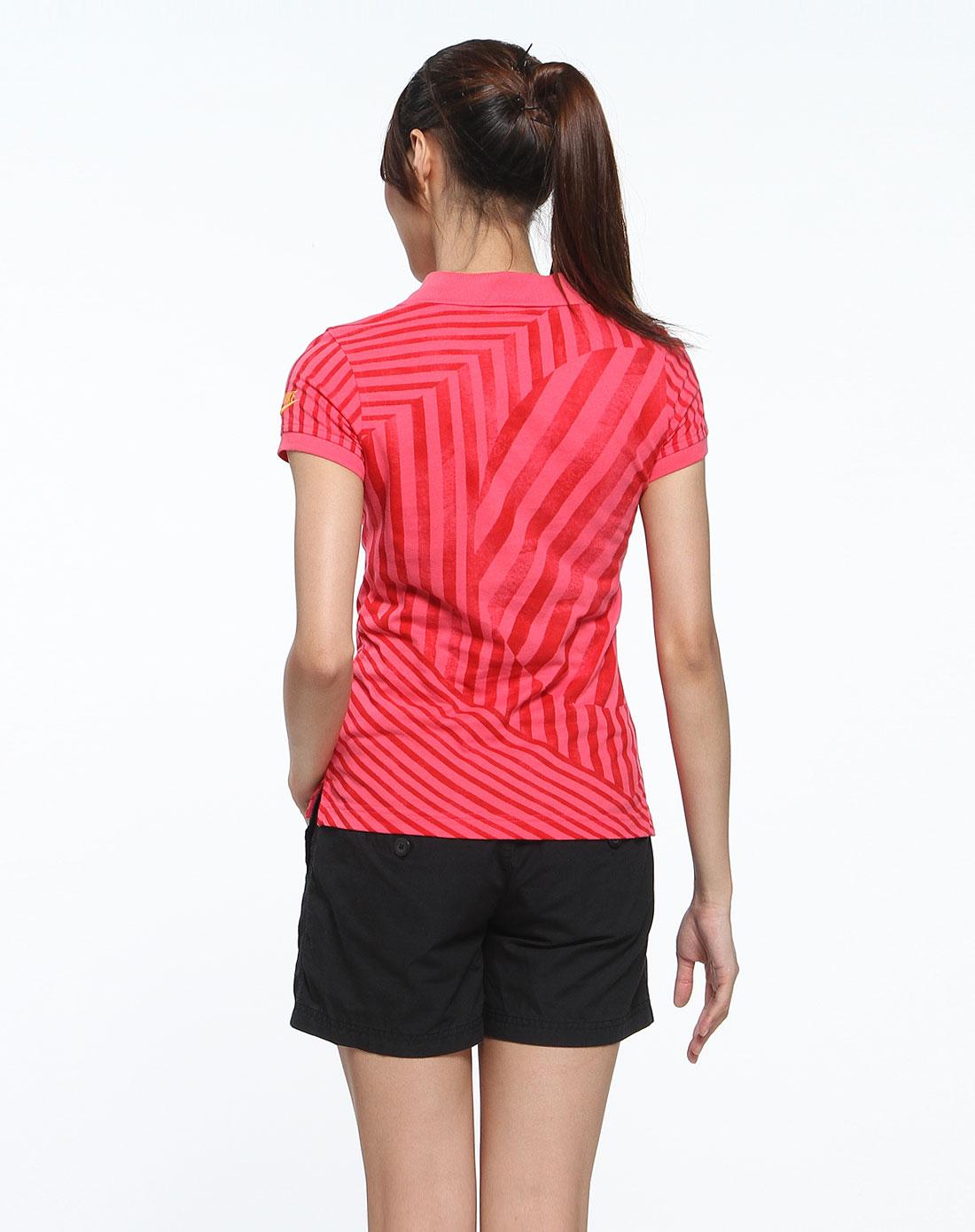 耐克nike男女装女款玫红色竖纹时尚短袖polo衫379839