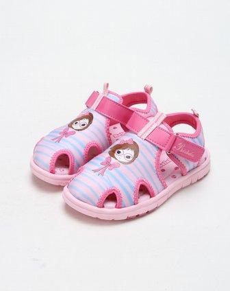 粉红色可爱女孩沙滩凉鞋