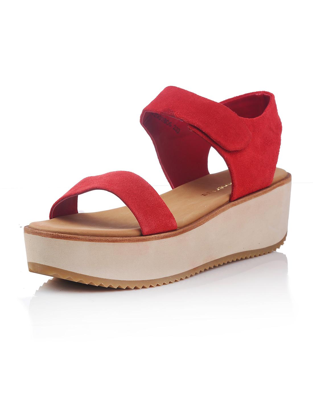女款红色田园风情简约厚底凉鞋