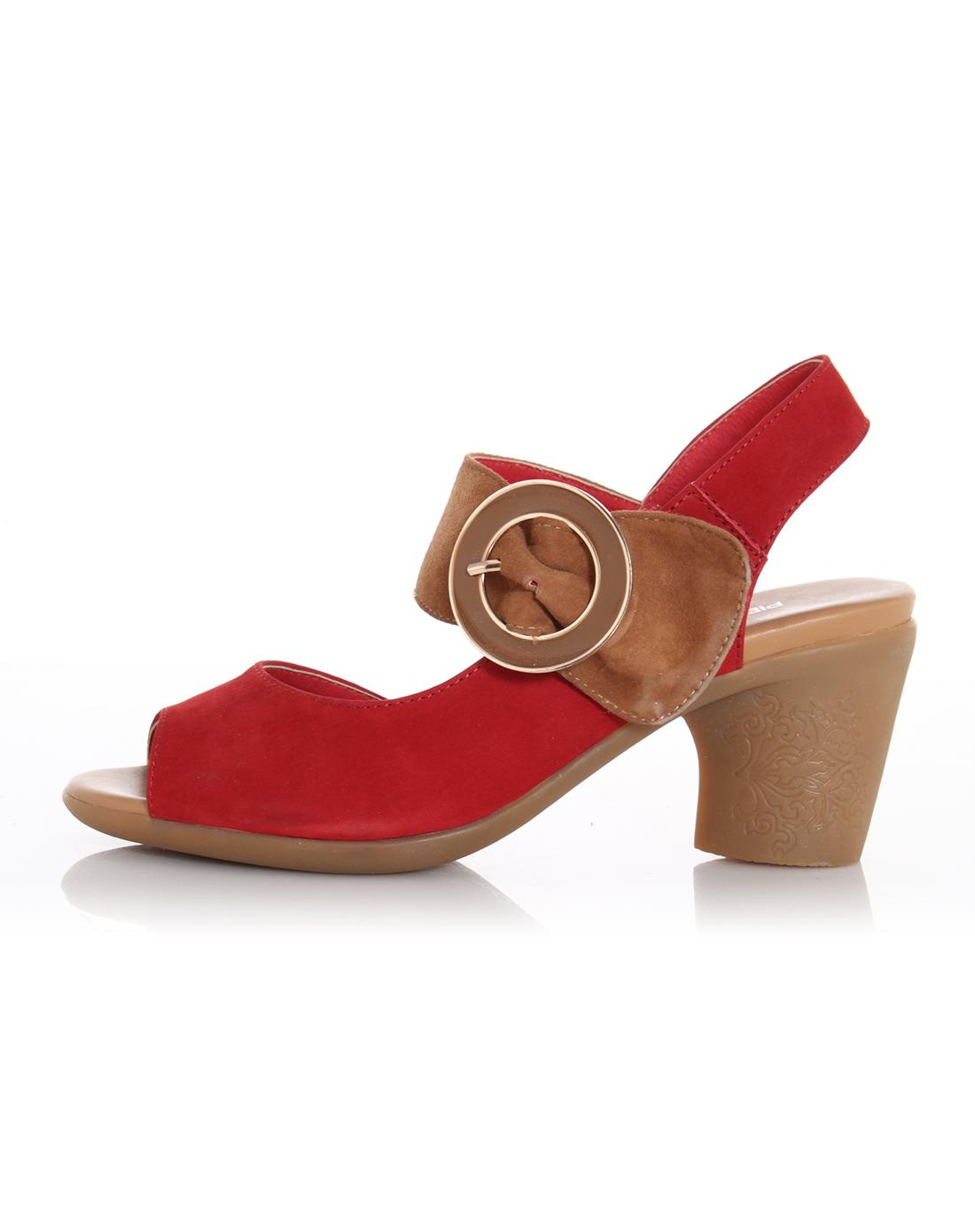 女款红/驼简约时尚粗跟头层牛皮露趾牛筋底凉鞋