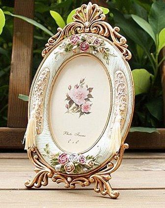 伊加yoga田园风玫瑰浮雕椭圆形相框6寸1a101523