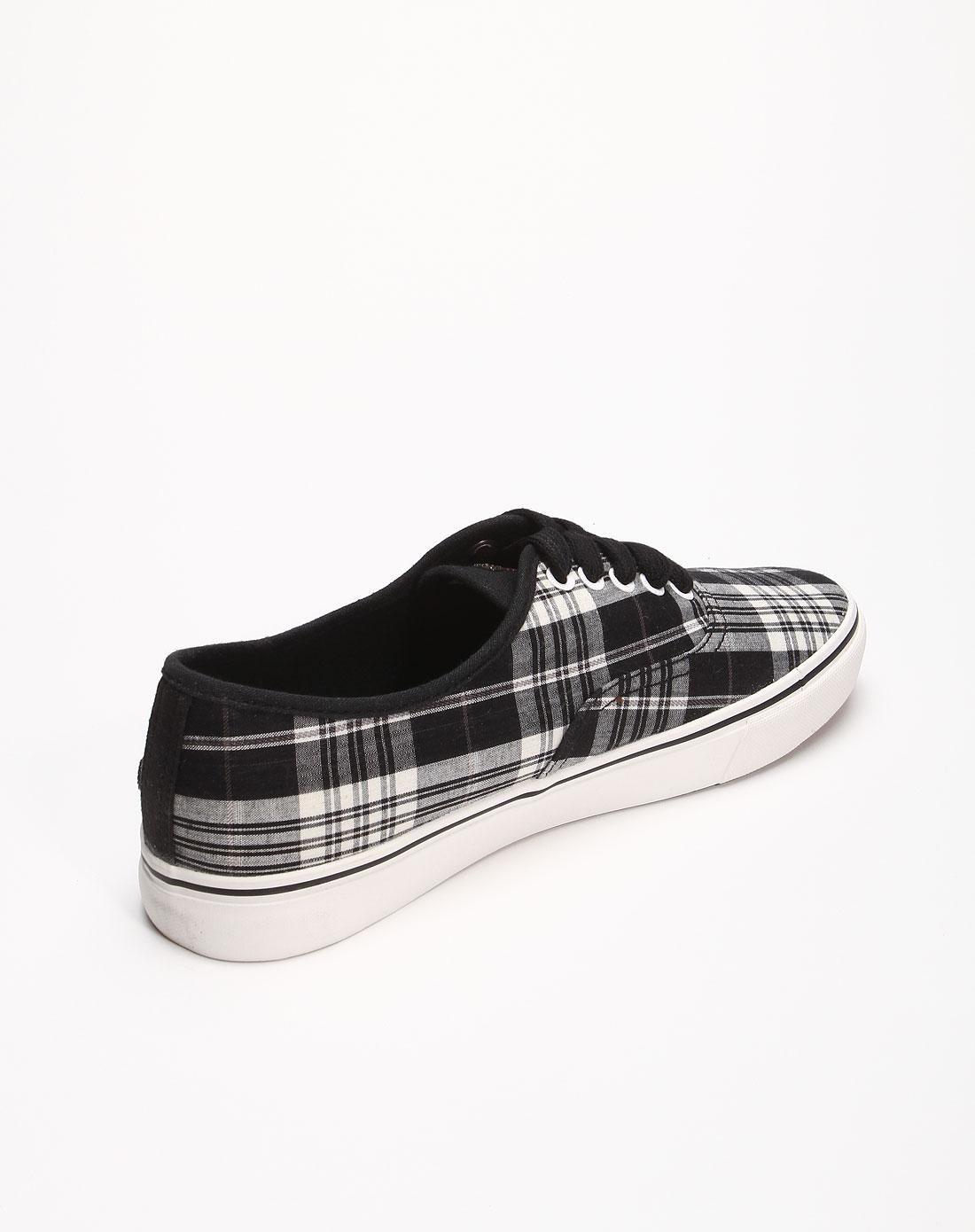 cooper男女装男款黑/白色格纹休闲时尚布鞋j