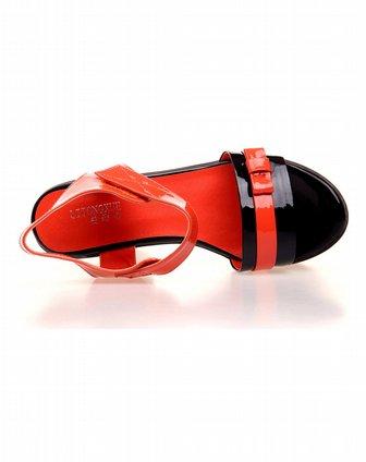 莉彤雪litongxue橙色超纤春季凉鞋l18956-8