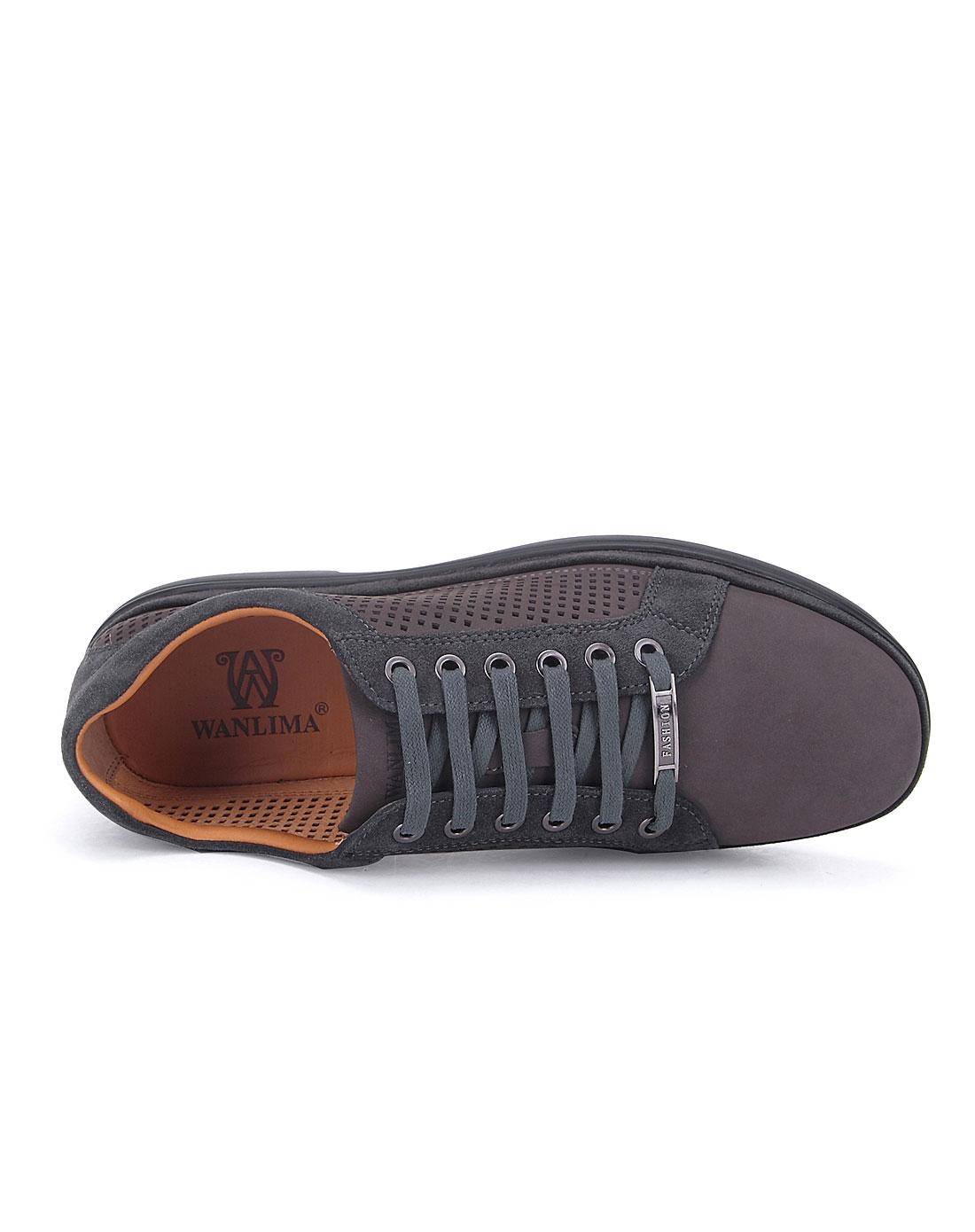 万里马wanlima男女鞋男款灰色休闲舒适单鞋12224006