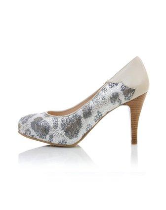 蜜丝罗妮marchiori时尚上班黑色刷银色豹纹牛皮女鞋