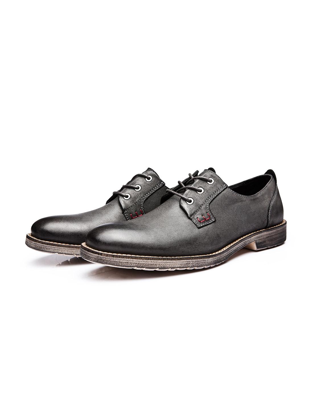 策恩ceen灰色复古真皮英伦风欧美男鞋x0255d