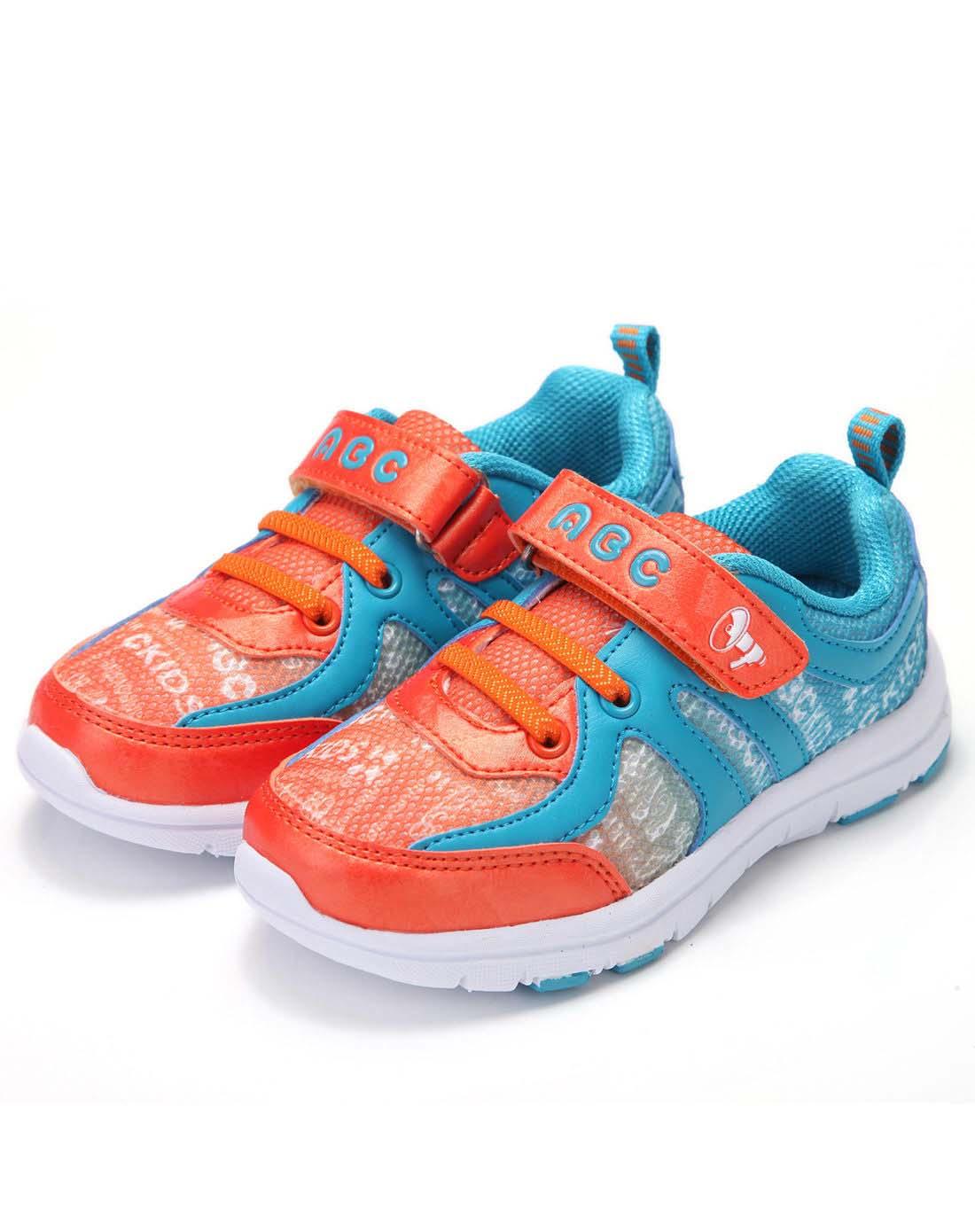 abckids童装童鞋专场男小童橙/湖蓝跑步运动鞋-2084