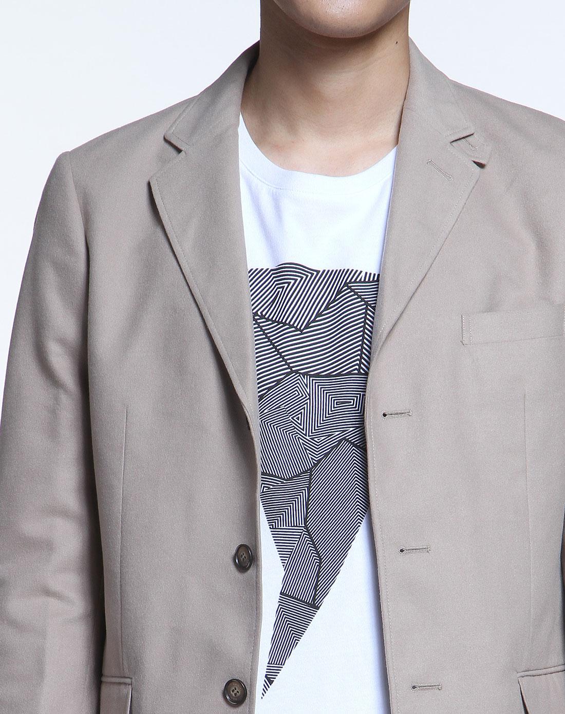 森马米色毛呢时尚长袖休闲西装外套12115312101-2820